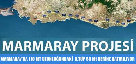 MARMARAY'DA 110 MT UZUNLUĞUNDAKİ  9.TÜP 58 Mt DERİNE BATIRILIYOR