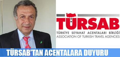 TÜRSAB'TAN ACENTALARA DUYURU