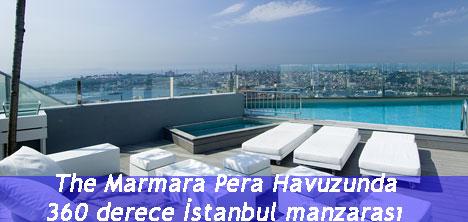 The Marmara Pera Havuzunda 360 derece İstanbul manzarası