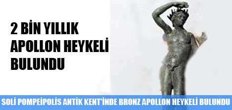 SOLİ POMPEİPOLİS ANTİK KENT'İNDE BRONZ APOLLON HEYKELİ BULUNDU