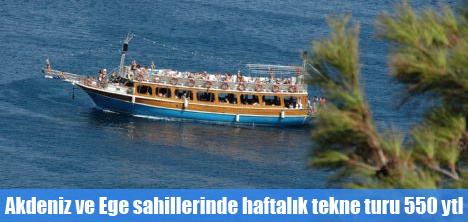 Akdeniz ve Ege sahillerinde haftalık tekne turu 550 ytl