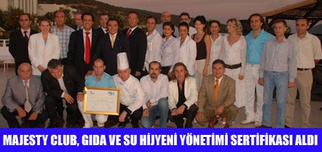 MAJESTY CLUB HOTEL BELİZİA,ALTIN SERTİFİKA  ALDI