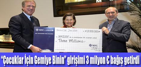 MSC Cruises UNICEF'e 3 milyon € bağış yaptı