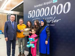 İstanbul Havalimanı, 50 milyonuncu yolcuya ev sahipliği yaptı